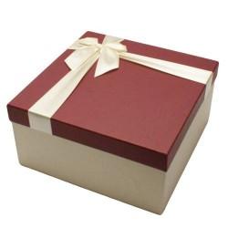 Coffret cadeaux de couleur écru avec couvercle rouge bordeaux 20.5x20.5x10.5cm - 5837m