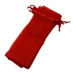 100 bourses organza longues de couleur rouge - 5844
