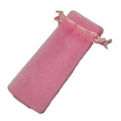 100 bourses organza longues de couleur rose tendre - 5845