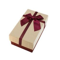 Boîte cadeaux rouge bordeaux et écru avec noeud 14.5x8.5x5.5cm - 5882