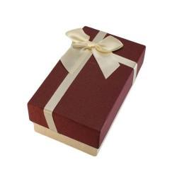 Boîte cadeaux écru et rouge bordeaux avec noeud rouge 14.5x8.5x5.5cm - 5883