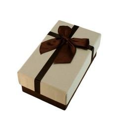 Boîte cadeaux marron chocolat et écru avec noeud 14.5x8.5x5.5cm - 5884