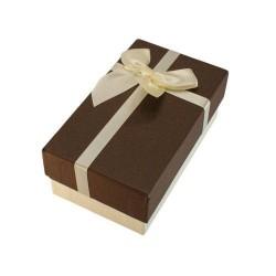 Boîte cadeaux écru et marron chocolat avec noeud écru 14.5x8.5x5.5cm - 5885