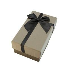 Boîte cadeaux gris foncé et gris perle avec noeud gris 14.5x8.5x5.5cm - 5886