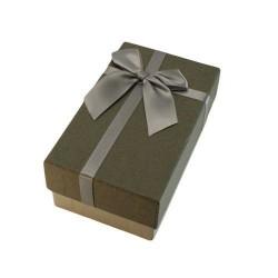 Boîte cadeaux gris clair et gris souris avec noeud  argenté 14.5x8.5x5.5cm - 5887