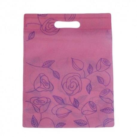 12 sacs non-tissés couleur rose clair et imprimé - 5909