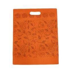 12 sacs non-tissés orange imprimé roses - 5919