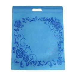 Lot de 12 sacs intissés de couleur bleu à fleurs- 5916