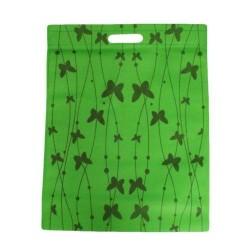 Lot de 12 sacs intissés de couleur vert imprimé papillons - 5917