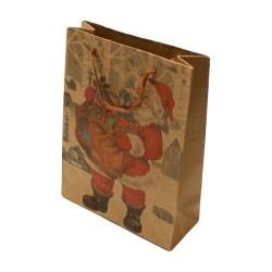 12 sacs cabas en papier kraft brun naturel motif père Noël 20x14.5x6cm - 5940