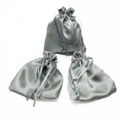 25 bourses en satin de couleur gris argenté 8x7cm - 5954