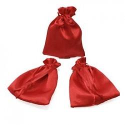 25 bourses cadeaux en satin couleur rouge 11x10cm - 5958