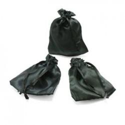 25 bourses cadeaux en satin couleur noir 11x10cm - 5963