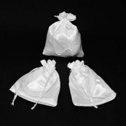 25 bourses cadeaux en satin couleur blanc 11x10cm - 5964