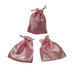 25 bourses cadeaux en satin couleur rose 11x10cm - 5959