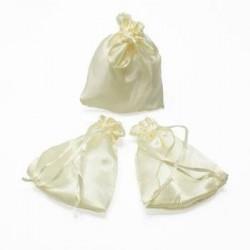 Lot de 25 bourses cadeaux en satin blanc crème - 5969