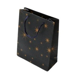 12 sacs cadeaux papier kraft couleur bleu nuit motifs étoiles 14.5x11.5x6cm - 5933