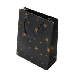 12 Sacs en papier kraft bleu nuit décorés étoiles 33x23.5x8cm - 5936
