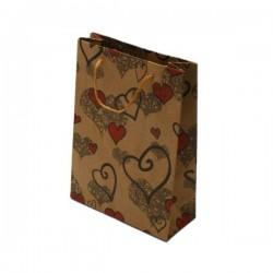 12 sacs cabas en papier kraft brun motifs coeurs 20x14.5x6cm - 6022