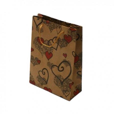 12 sacs cadeaux papier kraft coeur sac cabas kraft brun pas cher. Black Bedroom Furniture Sets. Home Design Ideas