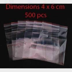 500 sachets zip réutilisables 6x4cm