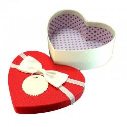 Coffret cadeaux en forme de coeur bicolore écru et couvercle rouge 15.5x14x5.5cm - 6089p