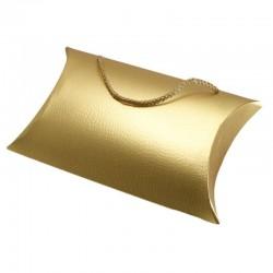12 Sacs berlingot dorés avec anses lacet - 6040