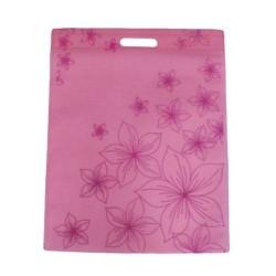 12 sacs non-tissés couleur rose clair et imprimé fleurs - 6103