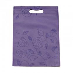 12 sacs non-tissés couleur mauve et imprimé roses - 6104