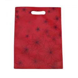 12 sacs non-tissés couleur rose foncé et imprimé fleurs - 6101