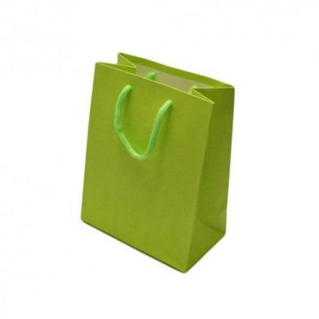 Lot de 12 sacs cadeaux couleur vert anis 18x10x23cm