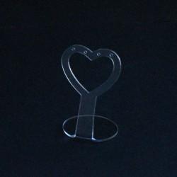 Présentoir à boucles d'oreilles transparent en forme de coeur 6cm - 5079
