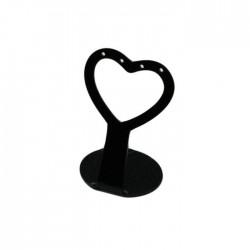 Présentoir à boucles d'oreilles noir en forme de coeur 6cm - 5081