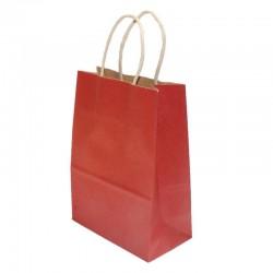 12 petits sacs en papier kraft couleur rouge 15x21x8cm - 6172
