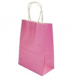 Lot de 12 sacs en papier kraft rose 25x33x12.5cm - 6183