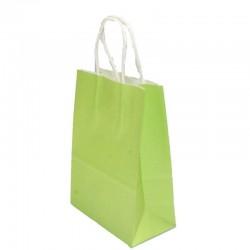 Lot de 12 sacs en papier kraft vert clair 25x33x12.5cm - 6187
