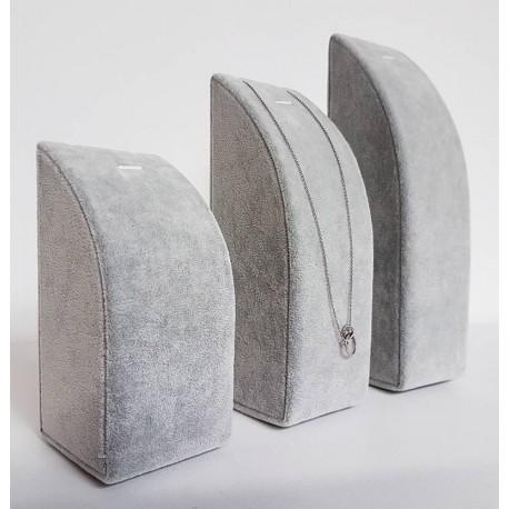 3 présentoirs rectangulaires en velours gris pour chaîne et pendentif - 6213