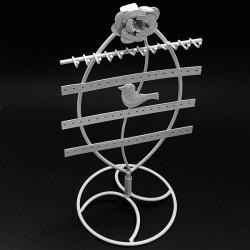 Porte bijoux métal blanc décoration oiseau - 6256