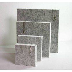 Lot de 4 volumes carrés en velours gris - 6261