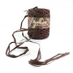 Bobine de raphia marron chocolat synthétique 200m - 6266