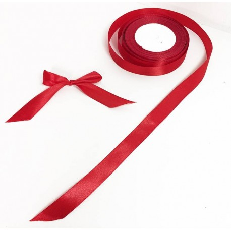 Bobine de ruban satiné en tissu de couleur rouge - 5731