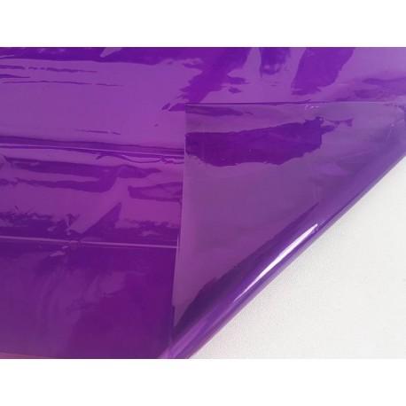 2 feuilles en cellophane couleur violet transparent - 5742