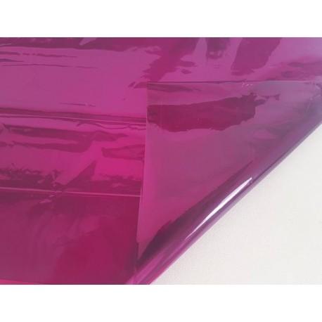 2 feuilles en cellophane couleur rose fuchsia transparent - 5743