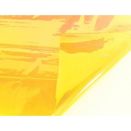 2 feuilles en cellophane couleur jaune doré transparent - 5739