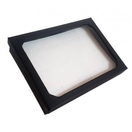 Baguier noir en carton avec couvercle 12 bagues - 6831