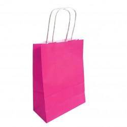 50 sacs cabas papier kraft couleur rose fuchsia sur fond blanc 18x8x24cm - 6285