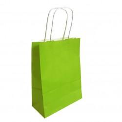 50 sacs cabas papier kraft couleur vert anis sur fond blanc 18x8x24cm - 6286