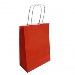 50 sacs cabas papier kraft couleur rouge sur fond brun 18x8x24cm - 6283