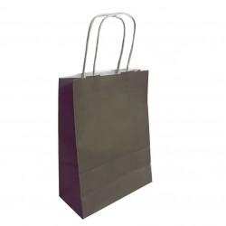 50 sacs cabas papier kraft couleur gris taupe sur fond blanc 18x8x24cm - 6282