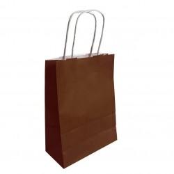 50 sacs cabas papier kraft couleur marron chocolat sur fond blanc 18x8x24cm - 6280